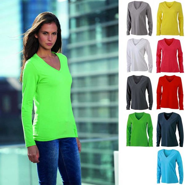 JN 929 Ladies' Stretch V-Neck T-Shirt longsleeve